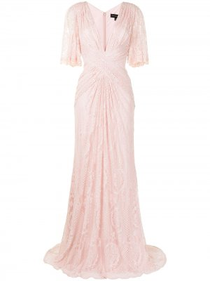 Кружевное платье Orino Tadashi Shoji. Цвет: розовый