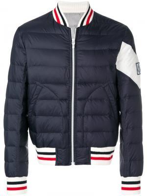 Пуховая куртка-бомбер Moncler. Цвет: синий