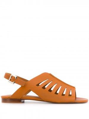 Босоножки Isaura на низком каблуке Clergerie. Цвет: коричневый