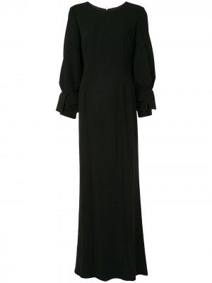 Платье с длинными рукавами и бантами на манжетах Paule Ka. Цвет: черный