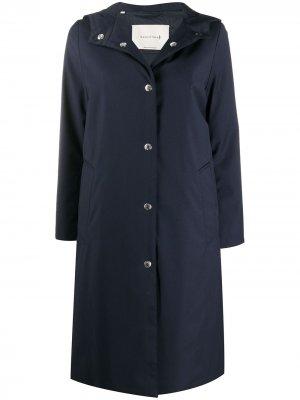 Пальто на кнопках с капюшоном Mackintosh. Цвет: синий
