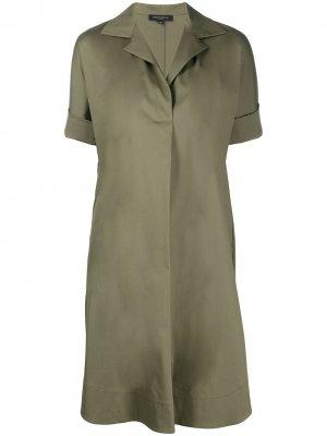 Платье-рубашка с короткими рукавами Antonelli. Цвет: зеленый