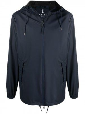 Куртка на молнии с капюшоном Rains. Цвет: синий