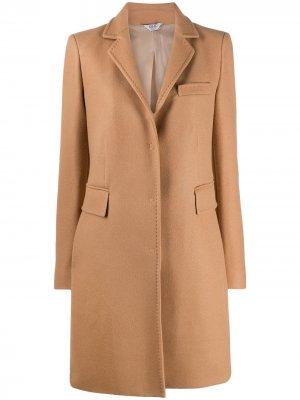 Однобортное пальто длины миди LIU JO. Цвет: нейтральные цвета