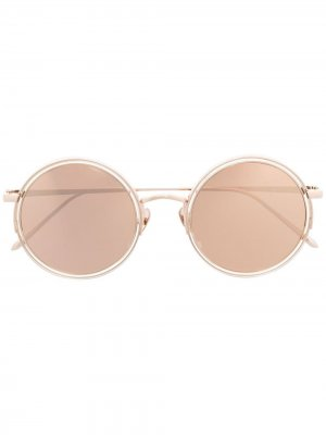 Солнцезащитные очки в круглой оправе Linda Farrow. Цвет: розовый