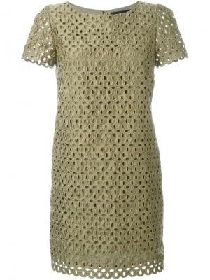Платье с лазерной перфорацией Marco Bologna. Цвет: зеленый