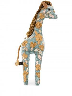 Мягкая игрушка в виде жирафа с вышивкой Anke Drechsel. Цвет: синий