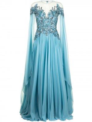 Шифоновое платье с кейпом Zuhair Murad. Цвет: синий