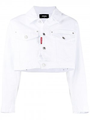 Укороченная джинсовая куртка Icon Dsquared2. Цвет: белый