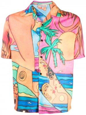 Рубашка Lady on the Beach с короткими рукавами Esteban Cortazar. Цвет: оранжевый