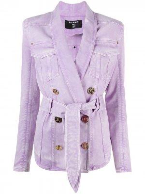 Двубортная джинсовая куртка с поясом Balmain. Цвет: фиолетовый