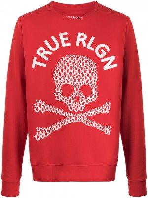 Толстовка с принтом Skull и логотипом True Religion. Цвет: красный