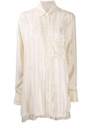 Рубашка асимметричного кроя в полоску LANVIN. Цвет: нейтральные цвета