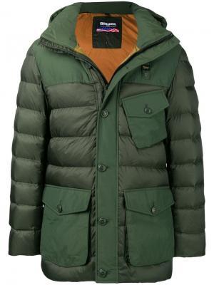 Пуховая куртка с несколькими карманами Blauer. Цвет: серый