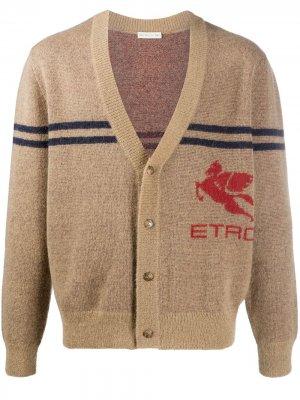Кардиган с V-образным вырезом и логотипом Etro. Цвет: коричневый