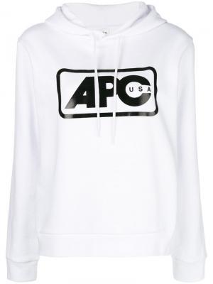 Logo-printed hoodie A.P.C.. Цвет: белый