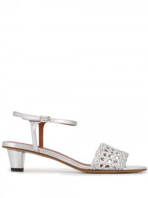 Босоножки на каблуке с эффектом металлик Michel Vivien. Цвет: золотистый