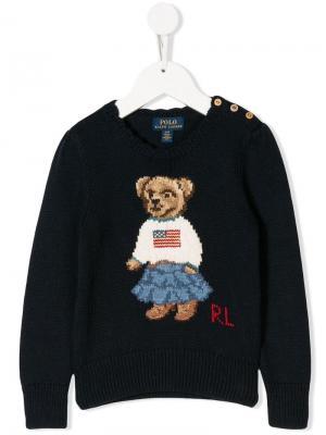 Свитер с изображением медведя логотипом Ralph Lauren Kids. Цвет: синий