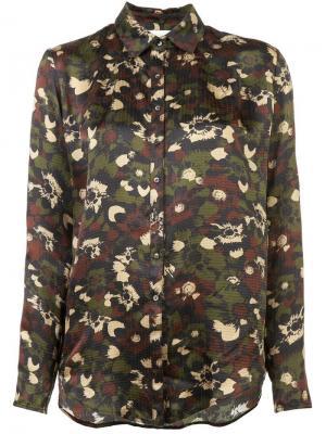 Рубашка с камуфляжным принтом Nicole Miller. Цвет: коричневый