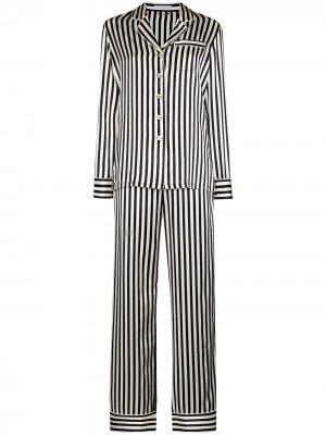 Пижама в полоску Olivia von Halle. Цвет: черный