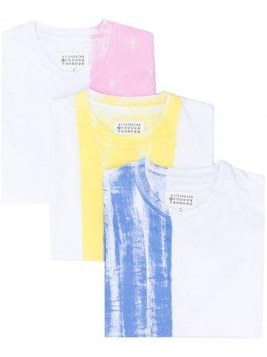 Комплект из трех футболок в стиле колор-блок Maison Margiela. Цвет: белый