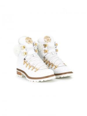 Перфорированные сапоги по щиколотку со шнуровкой Roberto Cavalli Junior. Цвет: белый