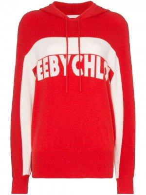 Худи вязки интарсия с логотипом See by Chloé. Цвет: красный