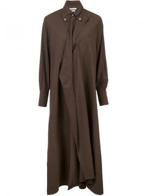 Асимметричное платье-рубашка Uma Wang. Цвет: коричневый