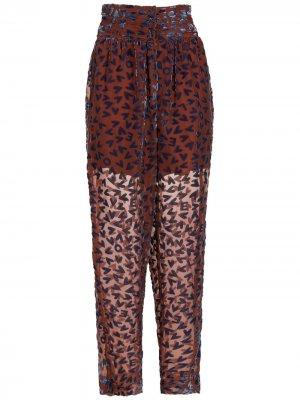 Зауженные брюки с принтом Nk. Цвет: коричневый