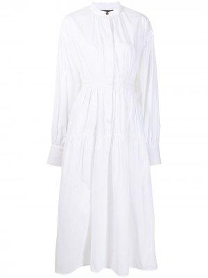 Платье с открытой спиной и длинными рукавами Proenza Schouler. Цвет: белый