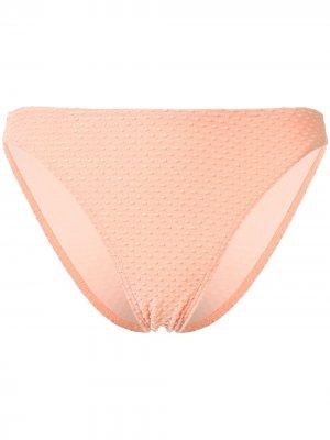 Плавки бикини с вышивкой Peony. Цвет: оранжевый