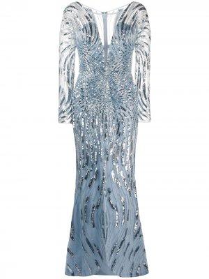 Платье с пайетками и V-образным вырезом Zuhair Murad. Цвет: синий