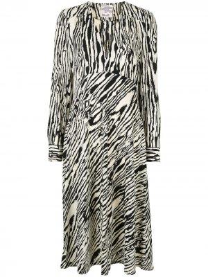 Платье миди Aericka с зебровым принтом Baum Und Pferdgarten. Цвет: черный