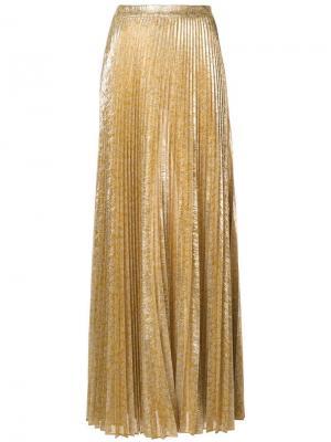 Плиссированная юбка макси Alexis. Цвет: золотистый