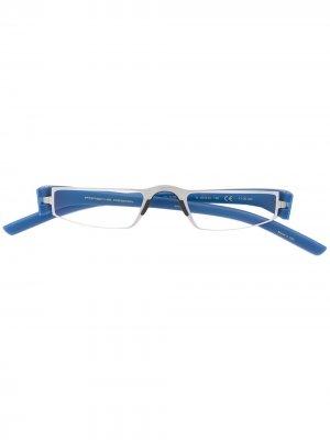 Узкие прямоугольные очки Porsche Design. Цвет: синий