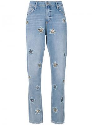 Джинсы со звездами Zoe Karssen. Цвет: синий