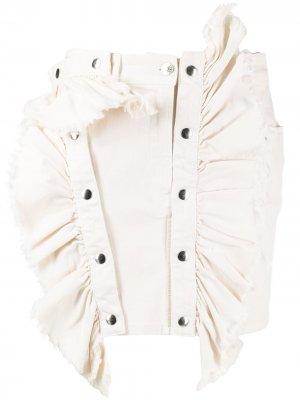 Джинсовая юбка D-Fru с оборками Diesel. Цвет: нейтральные цвета