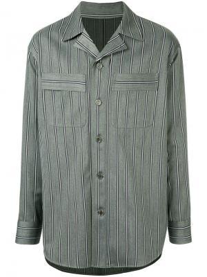Рубашка модели оверсайз в полоску Wooyoungmi. Цвет: серый