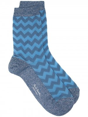 Жаккардовые носки с узором зигзаг Paul Smith. Цвет: синий