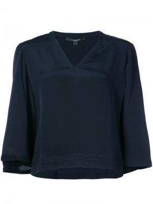 Укороченная расклешенная блузка Derek Lam. Цвет: синий