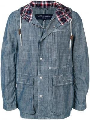 Джинсовая куртка с капюшоном Comme Des Garçons Pre-Owned. Цвет: синий