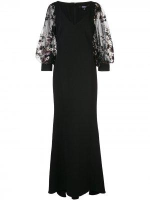 Вечернее платье с цветочной аппликацией Badgley Mischka. Цвет: черный