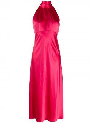 Платье миди с вырезом халтер Saloni. Цвет: розовый