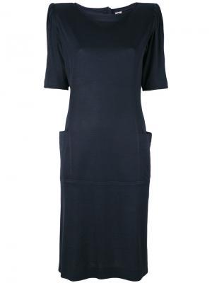 Платье с подложенными плечами Emanuel Ungaro Pre-Owned. Цвет: синий