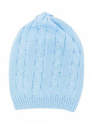 Вязаная шапка бини Little Bear. Цвет: синий