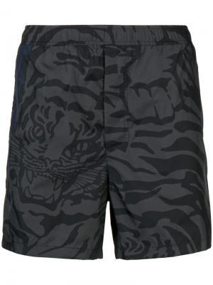 Шорты для плавания Tiger Camouflage Valentino. Цвет: серый