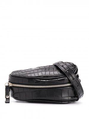 Поясная сумка с тиснением под кожу крокодила Cornelian Taurus By Daisuke Iwanaga. Цвет: черный