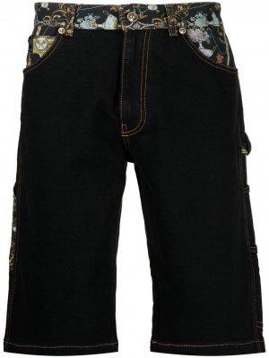 Джинсовые шорты со вставками и принтом Versace Jeans Couture. Цвет: черный