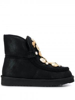 Декорированные ботинки на плоской подошве Tosca Blu. Цвет: черный