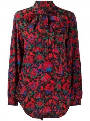 Блузка с бантом и цветочным принтом Rag & Bone. Цвет: красный